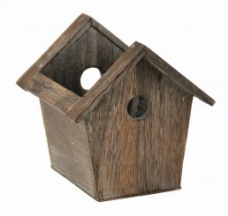Brown Stain Wooden Birdhouse Container