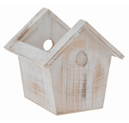 Wooden Birdhouse Container - White Wash Finish