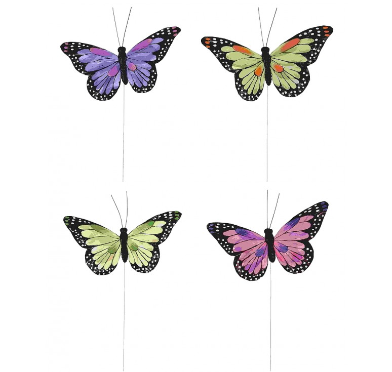 "4.5"" Assorted Color Butterfly Pick"