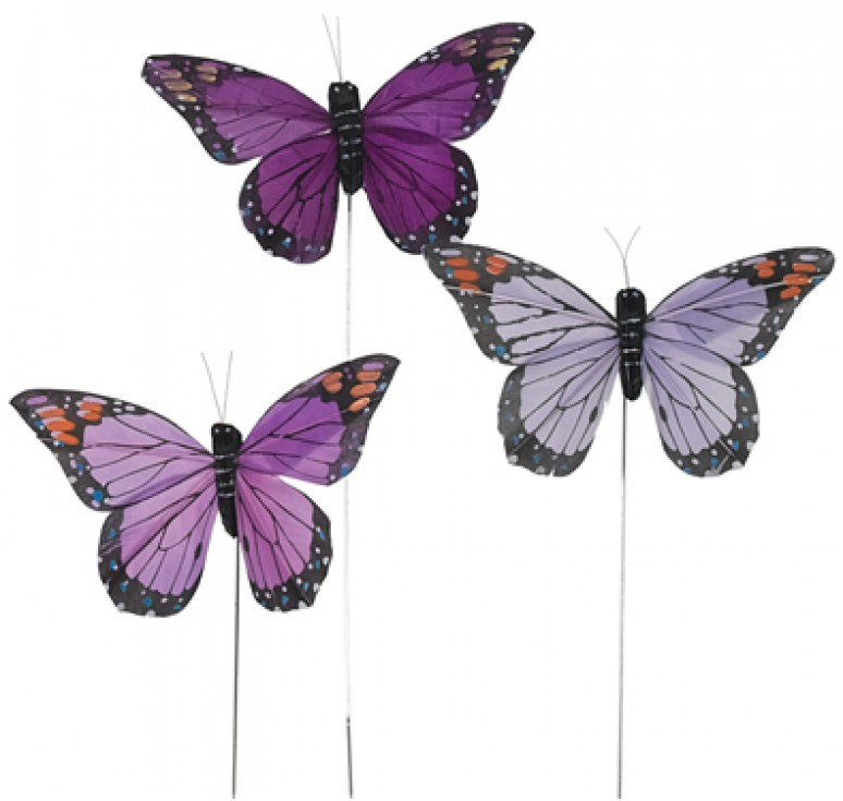"4.5"" Assorted Purple Butterfly Pick"