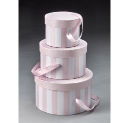Round Set/3 Box with Attached Ribbon - Pink/White (see note below)*