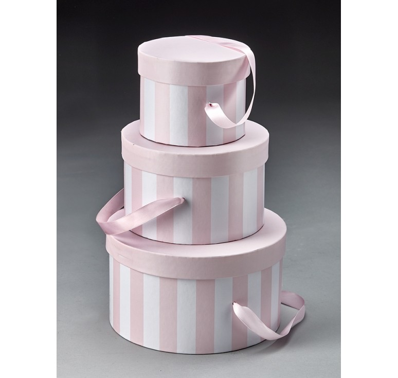 Round Set/3 Box with Attached Ribbon - Pink/White