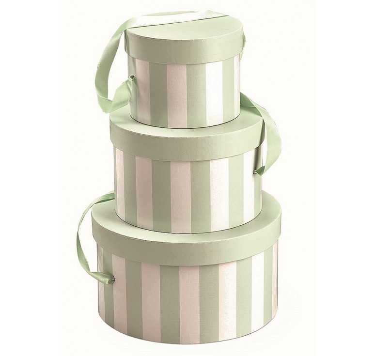 Round Set/3 Box with Attached Ribbon - Green/White