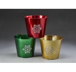 Round Metal Containers with Snowflake Design