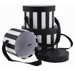 Round Set/3 Box with Attached Ribbon - Black/White