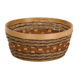 "Round Woodchip and Rope Container - 10.25"" diameter"