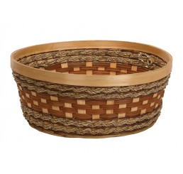 "Round Woodchip and Rope Container - 12"" diameter"