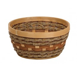 "Round Woodchip and Rope Container - 8.25"" diameter"