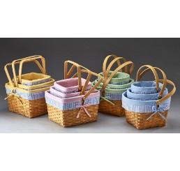 Set/3 Woodchip Bushel Basket with Drop Handle and Fabric Lining