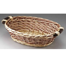 Oval Willow with Wooden Ear Handles - Two-Tone Weave