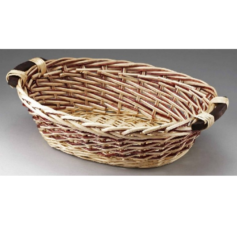 Wood Basket Weaving Supplies : Oval willow with wooden ear handles two tone weave