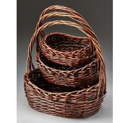 Set/3 Oval Willow Baskets, Brown Stain
