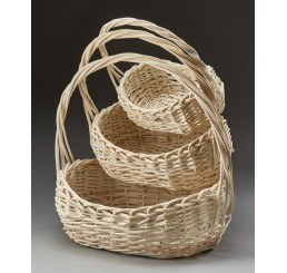Set/3 Oval Willow Baskets, White Wash