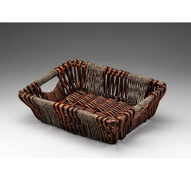 Brown Stain Willow/Rope Rectangular Tray