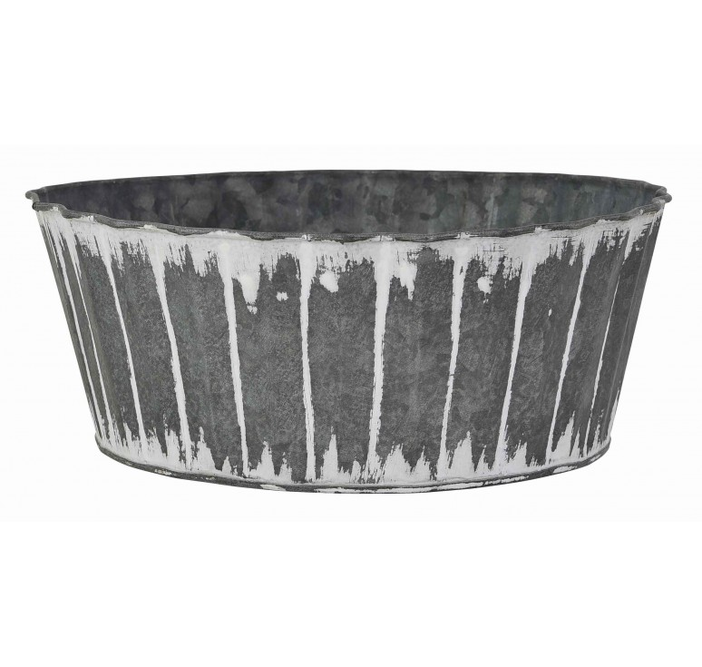 Distressed Finish Round Metal Container