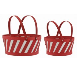 Red/White Round Woodchip Set/2