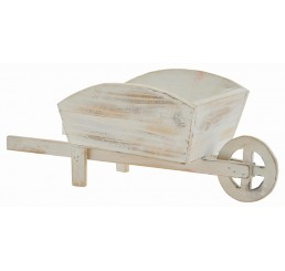 White Washed Wooden Wheel Barrow
