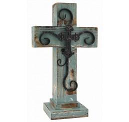Distressed Green Wooden Cross
