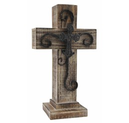 Distressed Brown Stain Wooden Cross