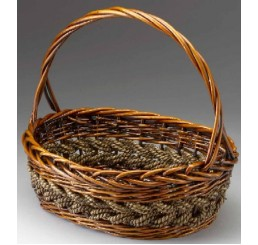 Brown Stain Willow and Rope Oval
