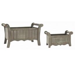 Set/2 Rectangular Wooden Container