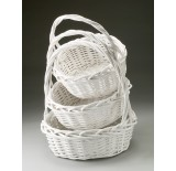 Round Willow Set of 3 Painted White