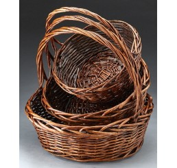 Set/3 Round Willow Baskets w/ Brown Stain