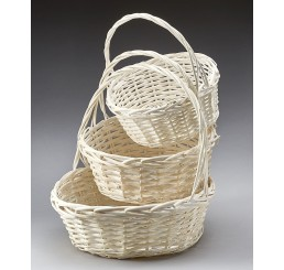 White Washed Round Willow Set of 3