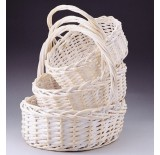 White Wash Oval Willow Set/3