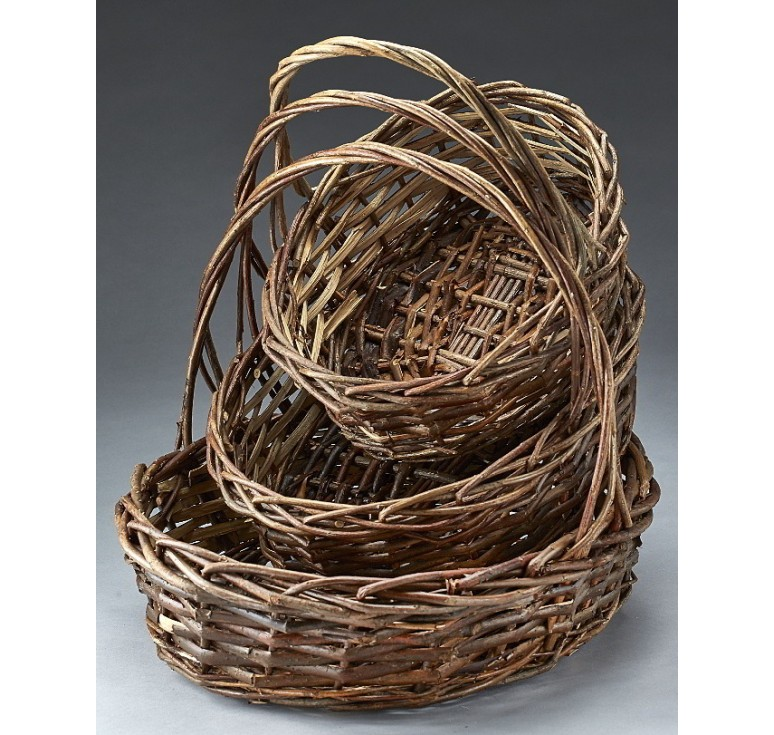 Oval, Unpeeled Willow Set of 3