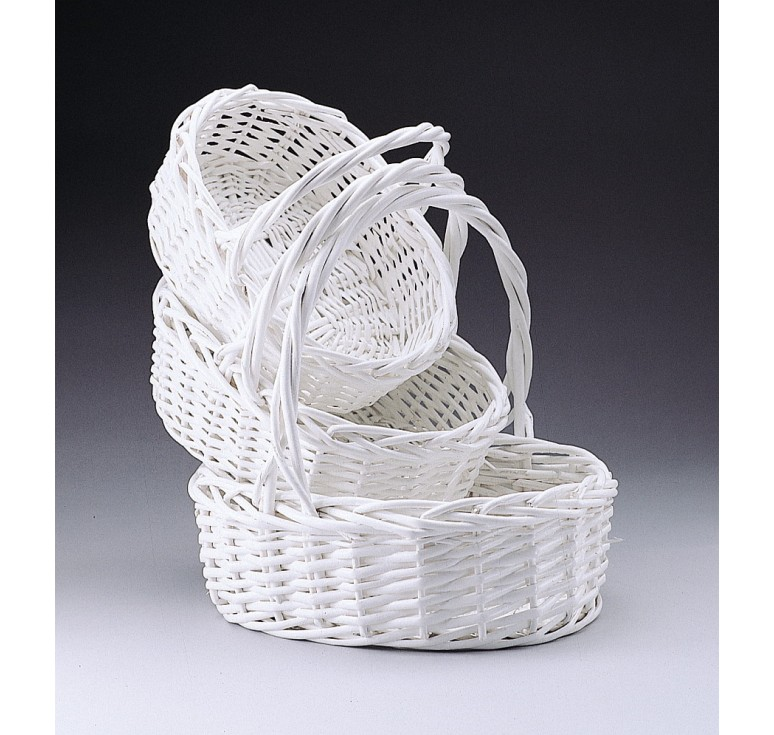 Oval Willow Set/3 Painted White