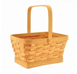 Rectangular Woodchip Basket w/Drop Handle