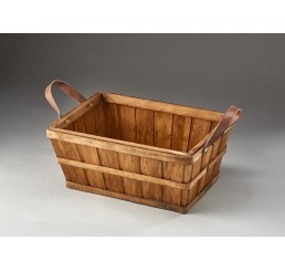 Rectangular Woodchip Container with Faux Leather Ear Handles