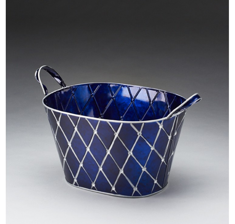 Blue with Silver Metal Pail