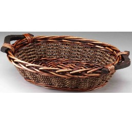 Willow and Rope Tray with Wooden Ear Handles