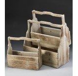 White Wash Set/3 Wooden Container