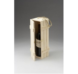 Wooden Bottle Wine Holder with Metal Clasp and Rope Handle
