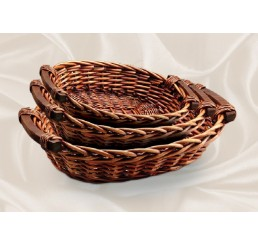 Set/3 Brown Stain Willow Tray with Wooden Ear Handles
