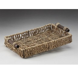 Rectangular Seagrass Tray with Metal Frame and Wooden Ear Handles
