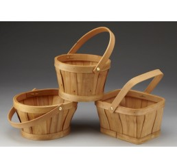 Woodchip Basket with Drop Handle