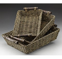 Set/3 Rectangular Seagrass Tray with Metal Frame