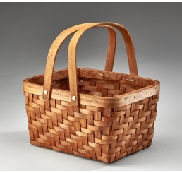 Rectangular Woodchip Basket with Double Drop Handles
