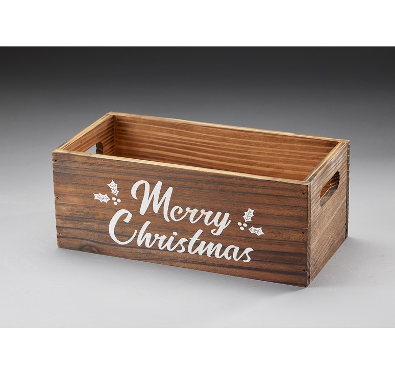 Merry Christmas Wooden Container **Low Inventory