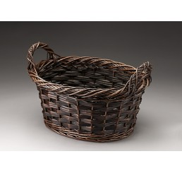 Brown Stain Oval Willow Basket
