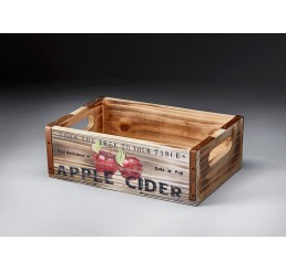 Wooden Crate with Apple Design