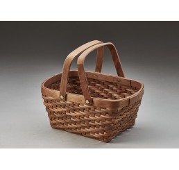 Brown Stain Woodchip Basket w/Drop Handles