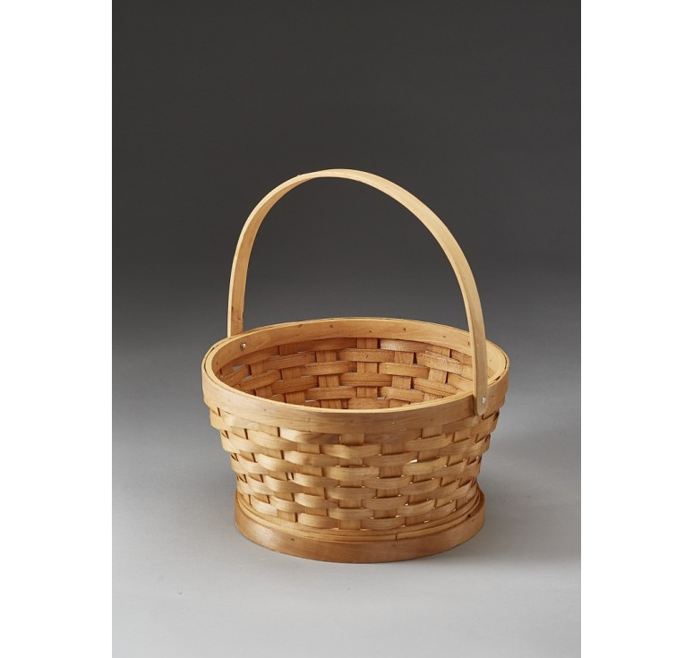 "10"" Round Woodchip Basket with Drop Handle"