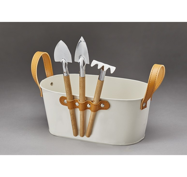 Oval Metal Container with Garden Tools **SEE NOTE BELOW
