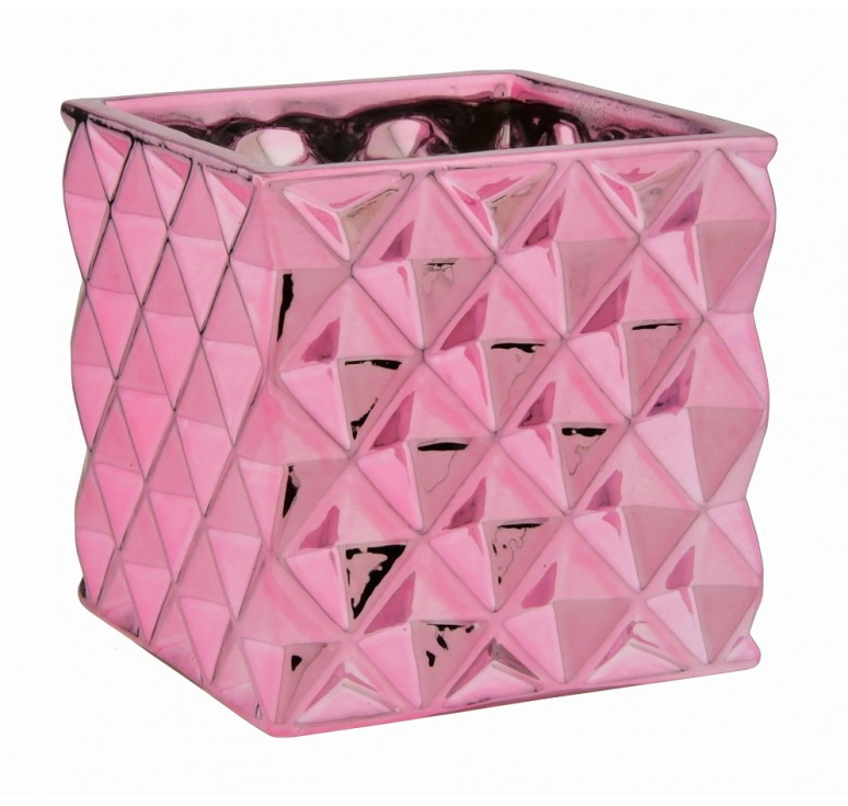 Metallic Pink Ceramic Cube