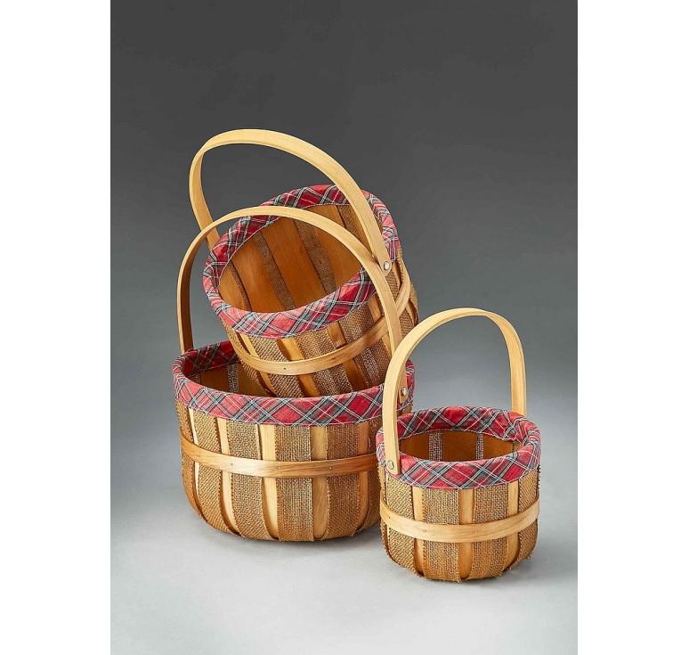 Set/3 Woodchip/Burlap Bushel Basket